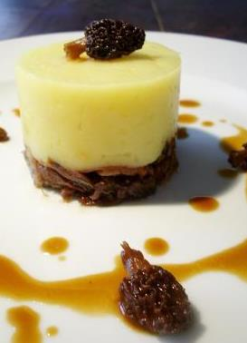 parmentier with hazelnut oil and duck confit with morel mushrooms