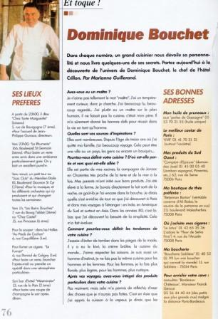 Article published in Fashion Style Paris on Dominique Bouchet, chef of Le Crillon