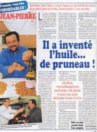 Article in France Soir on Jean-Pierre Clavié, creator of the Prune Kernel Oil