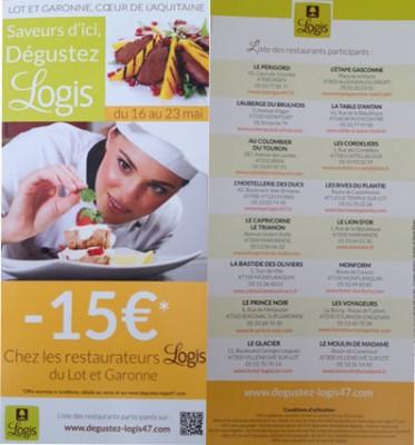 Visuel de l'opération Dégustez organisée du 16 au 23 mai 2014 par le réseau hôtels restaurants Logis 47 Lot et Garonne