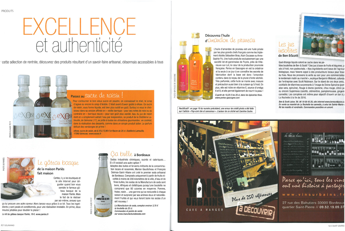 ARTICLE SUD OUEST GOURMAND SEPT 2015