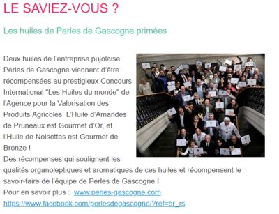 Article dans la newlsetter de la Comunauté d'Agglomération du Villeneuvois sur les huiles primées de Perles de Gascogne