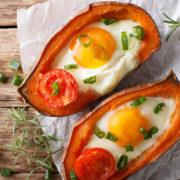 recette patates douces rôties et œufs cocotte